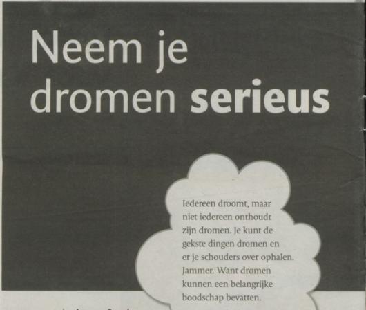 'Neem je dromen serieus' - artikel in De Stentor