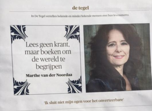 'Lees geen kranten maar boeken' - (Trouw)